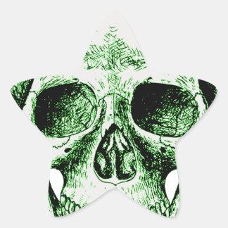 Green human skull face star sticker