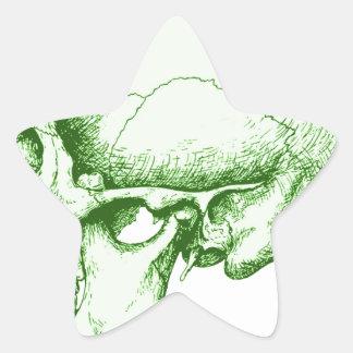 Green Human Skull Star Sticker