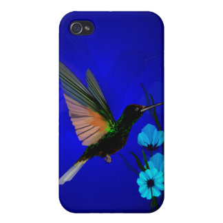 Green Hummingbird-Blue Flowers 444__P iPhone 4/4S Cases