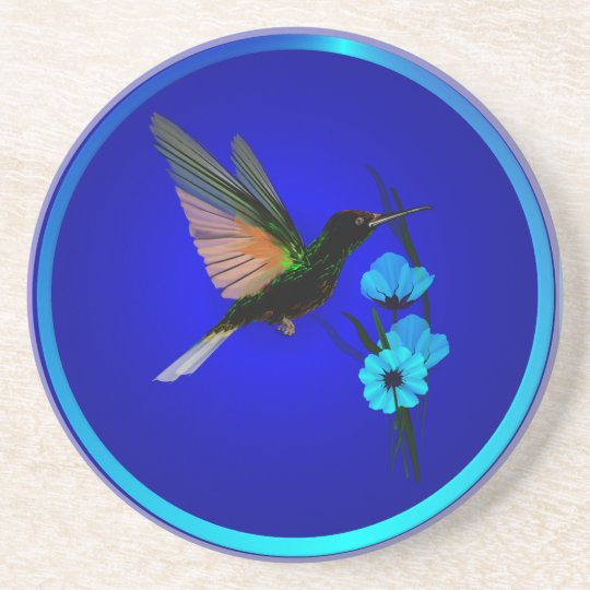 Green Hummingbird-Blue Flowers-Coasters Sandstone Coaster