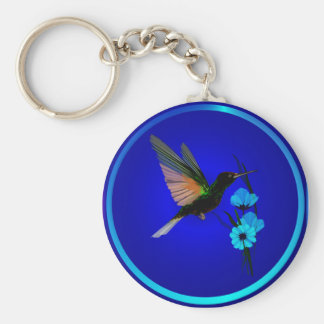 Green Hummingbird-Blue Flowers-  Keychains