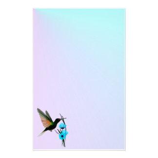 Green Hummingbird-Blue Flowers stationary Stationery