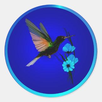 Green Hummingbird-Blue Flowers-Stickers Classic Round Sticker