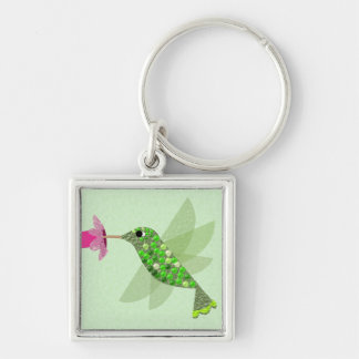 Green Hummingbird Silver-Colored Square Keychain