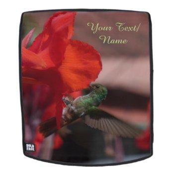 Green Hummingbird On Flower Cust. Backpack Face by Edelhertdesigntravel at Zazzle