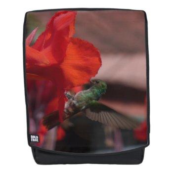 Green Hummingbird On Orange Flower Adult Backpack by Edelhertdesigntravel at Zazzle