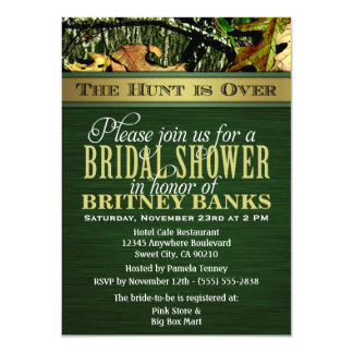 Green Hunting Camo Bridal Shower Invitations