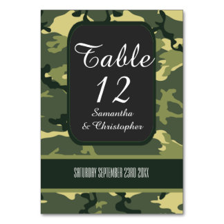 Green hunting or military camo wedding card