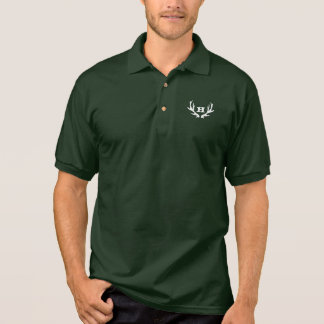 Green hunting polo shirt | custom deer antler logo