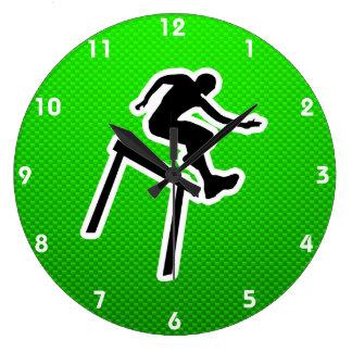 Green Hurdler Large Clock