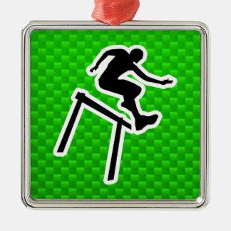 Green Hurdler Metal Ornament