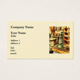 Green Hurricane Lamp In General Store Business Card