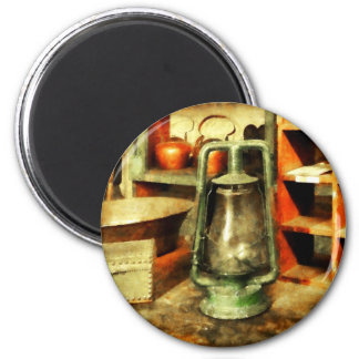 Green Hurricane Lamp in General Store 2 Inch Round Magnet