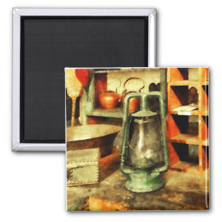 Green Hurricane Lamp in General Store 2 Inch Square Magnet