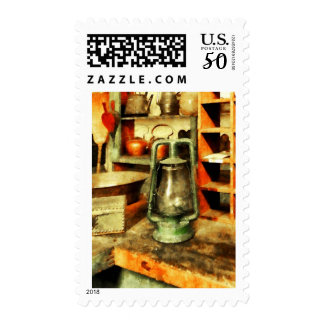 Green Hurricane Lamp in General Store Postage