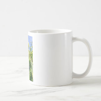 Green husks and leaves of sweet chestnut tree coffee mug
