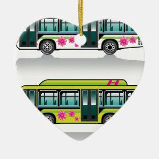 Green Hybrid Bus vector Ceramic Ornament