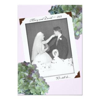 Green Hydrangea Anniversary Vow Renewal Ceremony 5x7 Paper Invitation Card