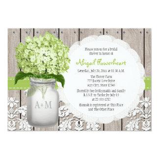 Green Hydrangea Monogram Mason Jar Bridal Shower 5x7 Paper Invitation Card