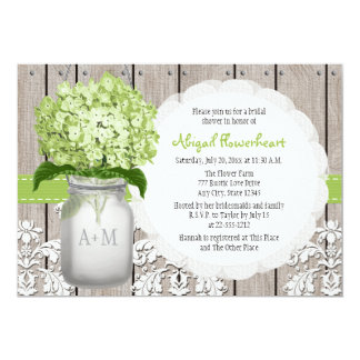 Green Hydrangea Monogram Mason Jar Bridal Shower Card