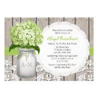 Green Hydrangea Monogram Mason Jar Bridal Shower Custom Announcement