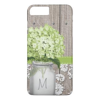 Green Hydrangea Monogram Mason Jar iPhone 7 Plus Case