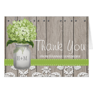 Green Hydrangea Monogrammed Mason Jar THANK YOU Card