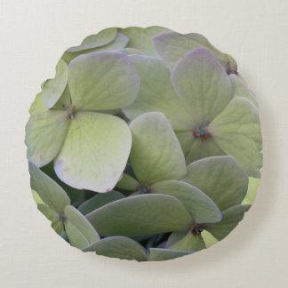 Green Hydrangea Round Floral Throw Pillow