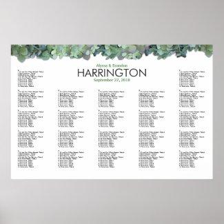 Green Hydrangea Wedding Reception Seating Chart Print