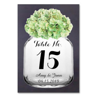 Green hydrangea wedding table numbers hydrangea6 table cards