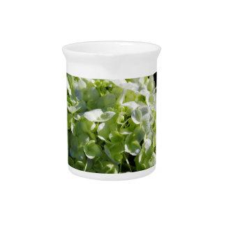 Green Hydrangeas Flowers Drink Pitcher