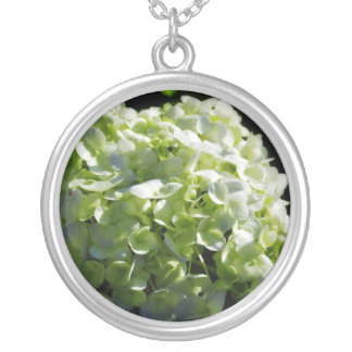 Green Hydrangeas Flowers Silver Plated Necklace
