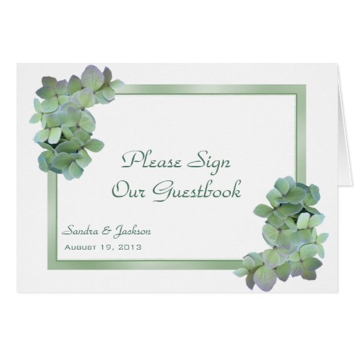 Green Hydrangeas Sign Our Guestbook Folded Card