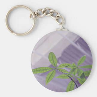 green hydroponic  plant leaves basic round button keychain