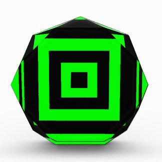 Green hypnotic geometry acrylic award