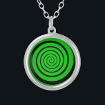"""green hypnotic spiral silver plated necklace<br><div class=""""desc"""">Cool graphic rounded black trace design in spiral form. The color can be changed (customized)</div>"""