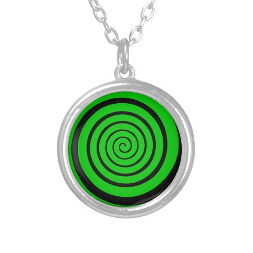green hypnotic spiral silver plated necklace