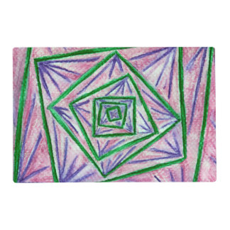 Green Hypnotic Squares Placemat