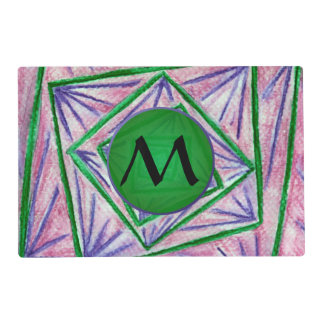 Green Hypnotic Squares with Green Monogram Placemat
