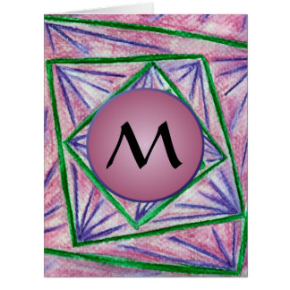 Green Hypnotic Squares with Mauve Monogram Large Greeting Card