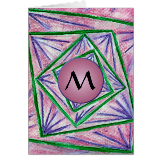 Green Hypnotic Squares with Mauve Monogram Greeting Card
