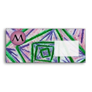 Green Hypnotic Squares with Mauve Monogram Envelopes