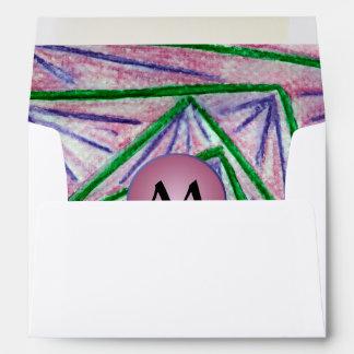 Green Hypnotic Squares with Mauve Monogram Envelope
