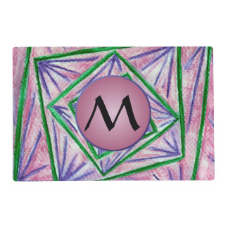 Green Hypnotic Squares with Mauve Monogram Placemat