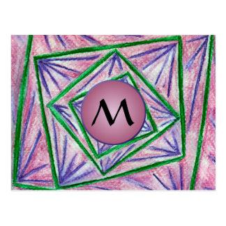 Green Hypnotic Squares with Mauve Monogram Postcard