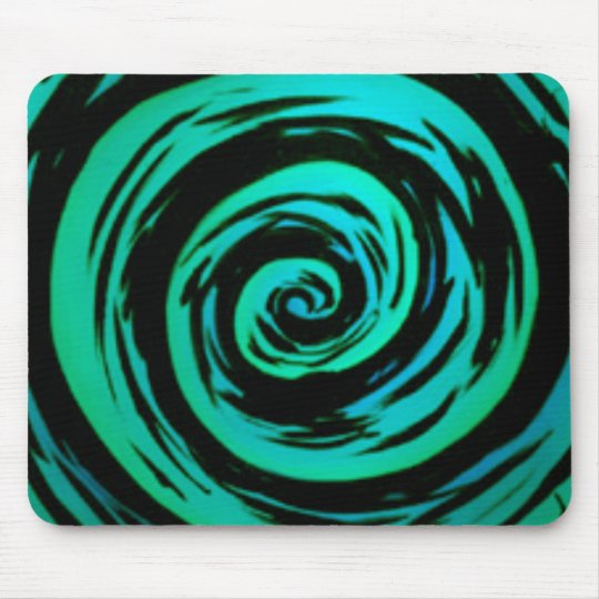 Green Hypnotic Swirl Art Mouse Pad