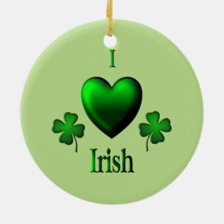 Green I Heart Irish Ceramic Ornament