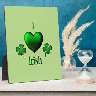 Green I Heart Irish Plaque