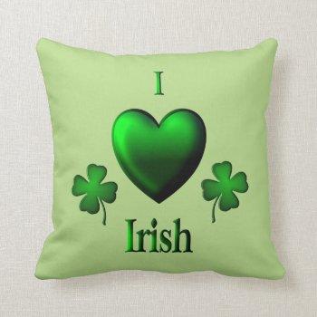 Green I Heart Irish Throw Pillow