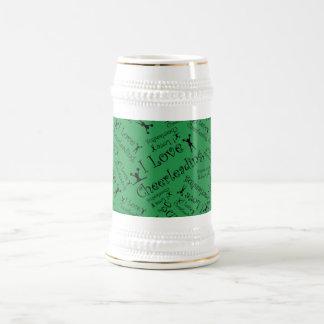 Green I love cheerleading Coffee Mugs